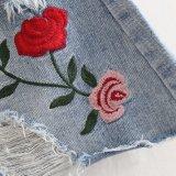 Платье юбки отверстия джинсовой ткани вышивки Rose типа женщин способа элегантное