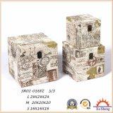 골동 가구 화포 인쇄 3 나무로 되는 트렁크의 나무로 되는 저장 선물 상자 세트