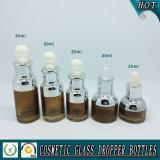 frasco de vidro ambarado do conta-gotas de 15ml 20ml 30ml 50ml