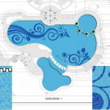 Piscina blu di colore del mosaico allentato