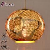 Pingente oco de metal redonda de bronze com iluminação da sala de jantar