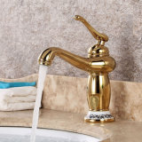 Flg Gold Painting Basin Bath Faucet with Single Handle