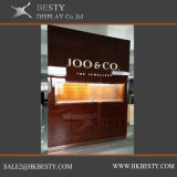 Cabina de visualización de pared con el escaparate de la ventana de la insignia de la iluminación