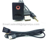 Auto Boat Audio Dash Flush Mount USB 3.5mm Adaptador de montagem macho auxiliar Entrada do painel