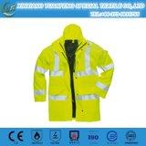 Mens PU высокой видимости водоустойчивые Breathable вскользь упрощают отражательную куртку дождя безопасности