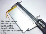 3.7V, 4000mAh, 3560143 ions/batterie Li-ion de lithium de polymère de Ntc pour la tablette PC, téléphone cellulaire, haut-parleur, côté de pouvoir
