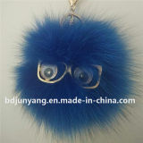 Mode moelleux Cute Ball Trousseau Pompom de fourrure de renard authentique de lapin
