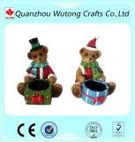 Support de bougie à la mode d'ours de nounours d'arbre de Noël d'ornement de résine de modèle