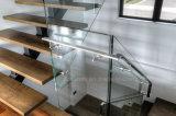 緩和されたガラスの柵および純木の踏面が付いているDIYのインストール現代デザインステンレス鋼のガラスステアケース