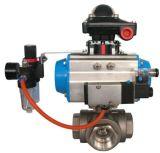 Válvula de bola de 3 vías con actuador neumático