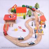 Estação Ferroviária de madeira artesanal Conjunto Via Férrea Kids Toy Car