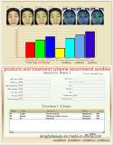 Le massage facial magique de miroir indiquent l'analyse de peau d'encre en poudre