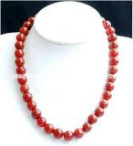 La joyería de moda de verano de 2013, Piedra Natural Rojo Collar de perlas Piedra de Jade para los hombres y muchachos Boy Ecológico (PN-105)