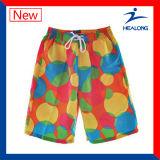 Shorts da praia dos adolescentes do Sublimation do preço de fábrica do fato do projeto da forma de Healong