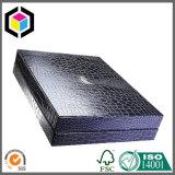 Rectángulo de regalo rígido de cuero del papel de la cartulina de la PU del negro de lujo