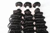 8A Remyの毛の深い波自然なカラーブラジルの毛の織り方