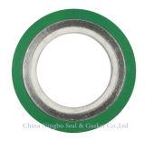 El anillo exterior de color verde de la junta de la herida espiral recubierto