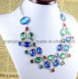 La primavera de aleación de zinc de bisutería de cristal transparente chapados en plata Cadenas estilo veraniego collar ajustable para la Mujer Amiga parte (PN-029)