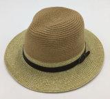 Mano de cuero de la corona de la PU del sombrero de papel (Sh027)