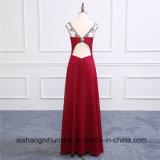 Burgundy длиной отбортовал сексуальные платья выпускного вечера платья вечера шикарные