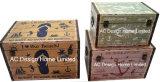 S/3 декоративные предметы антиквариата Vintage Live смеяться любовь дизайн прямоугольные печати фиолетового цвета кожи/MDF деревянные окна соединительных линий для хранения