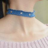 De met de hand gemaakte Blauwe Halsband van de Nauwsluitende halsketting van Jean Tassel Silver Plated Rivet