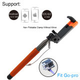 Oldable clip sin espejo de acero inoxidable Wired Selfie Stick para Smartphone