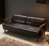 Sofà a tre camere di arte del panno del doppio del paese nordico di seduta caffè giapponese di legno reale della stanza (M-X3336)