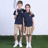Le short européen Sleeve100%Cotton vendent les uniformes scolaires primaires faits sur commande avec le polo