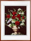 Belle peinture noire de décoration de mur de fleur de Rose avec la civière