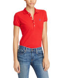 Women's Red Skinny FIT STRETCH Mesh Polo Shirt