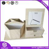 Rectángulo de madera del cajón del sostenedor y de la foto de la pluma de la cartulina del papel de la textura