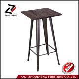Tabella pranzante della mobilia del quadrato del nero del metallo del metallo dell'interno istantaneo della Tabella con la parte superiore di legno