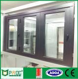 Fabricación de como2047 estándar australiano Bi de bastidor de aluminio doble cristal puerta plegable