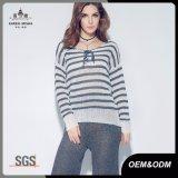 Muelle de tejido estriado suéter a rayas para mujer