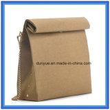 Saco ocasional de papel personalizado projeto do mensageiro de Du Pont dos jovens, saco de ombro de papel da compra de Tyvek da promoção quente com a correia dourada do metal da cor