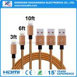 cable de carga de los datos trenzados de nylon del USB 2.1A para el iPhone