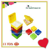 Candy Color Building Blocks Toy Lego 4 compartiments Plastic Cosmetics Containers Japanese Square Pill Box