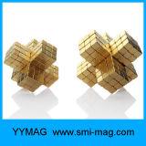 216PCS NdFeB Bolck imanes Golden 3X3X3mm para el juguete magnético