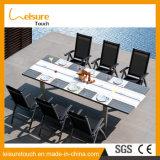 Textilene 확장 가능한 식탁 및 의자 좋은 품질 옥외 안뜰 정원 가구를 가진 반대로 감퇴에 의하여 양극 처리되는 알루미늄