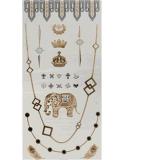 Etiqueta engomada temporal impermeable metálica de plata del tatuaje del oro