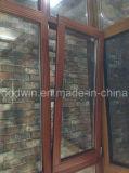 Janela de vidro dupla de madeira sólida com acabamento de marca alemão