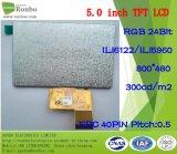 5.0 écran LCD de pouce 800*480 RVB 40pin 300CD/M2 avec l'écran tactile