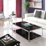 居間の家具のガラス上のコーヒーテーブル