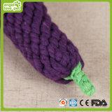 Produto da mastigação do cão de brinquedos da forma da beringela da corda do algodão