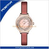 Senhora fina dourada relógio de quartzo da cinta de couro do diamante redondo
