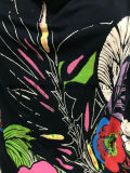 Ослабление Bat-Wing стопор оболочки троса черного T рубашку для женщин с резиновой печати