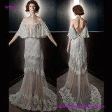 Romatic weg vom Schulter-vollen Verschönerung Capelet Weinlese-Hochzeits-Kleid
