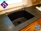 Tapa negra absoluta de la vanidad del granito, encimera del precio bajo para el cuarto de baño