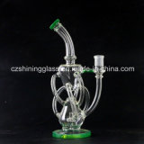 Grave Labs Multi-Tube Recycler Verre Fumée Pipe Avec Accent Blanc